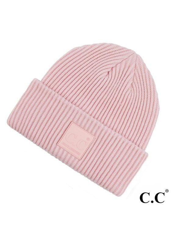 C.C. CC Blush Pink Ribbed Beanie Hat