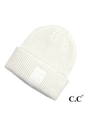 C.C. CC Ivory Ribbed Beanie Hat