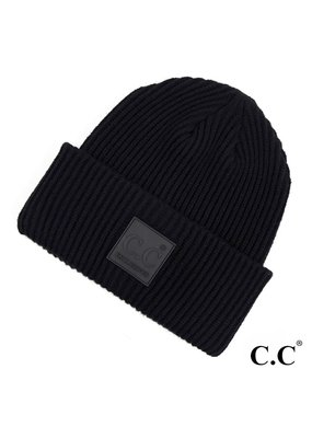 C.C. CC Black Ribbed Beanie Hat
