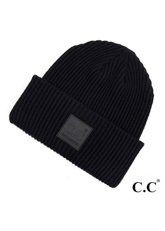C.C. CC Black Ribbed Beanie Hat