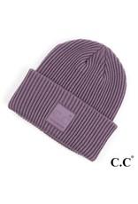 C.C. CC Violet Ribbed Beanie Hat