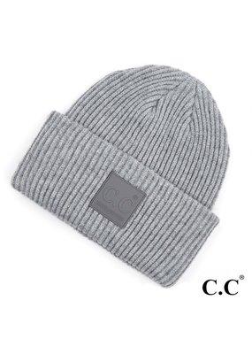 C.C. CC Lt. Melange Grey Ribbed Beanie Hat