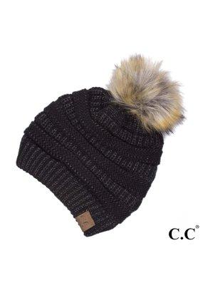 C.C. CC Metallic Black Pom Hat
