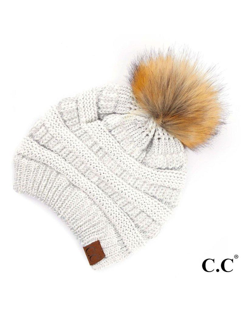 C.C. CC Metallic Ivory/Silver Pom Hat