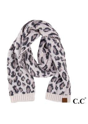 C.C. CC Ivory Leopard Print Scarf