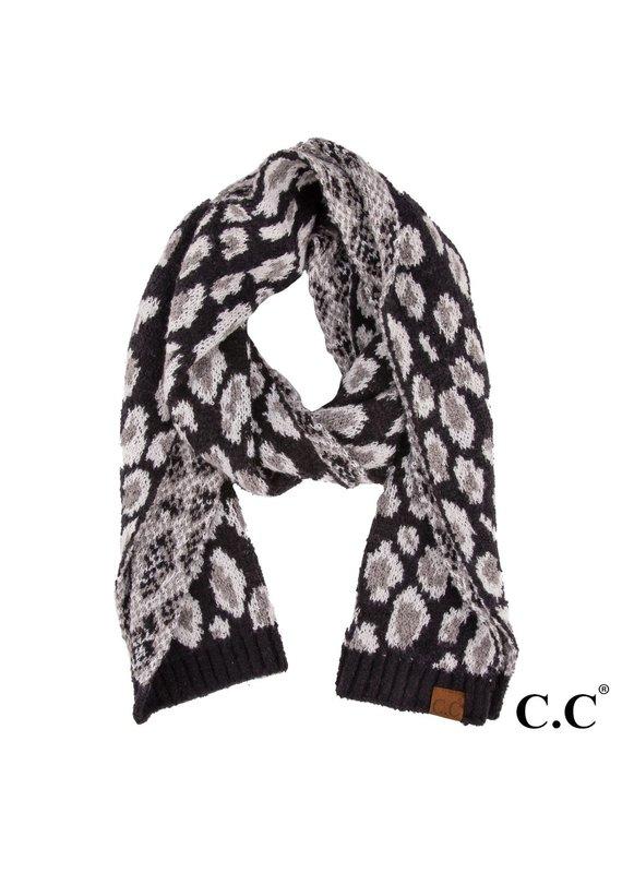 C.C. CC Black Leopard Print Scarf