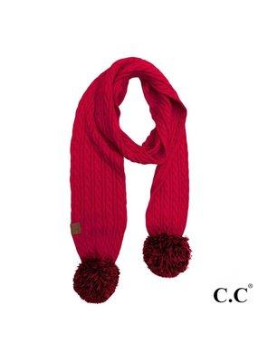C.C. CC Red/Black Game Day Pom Scarf