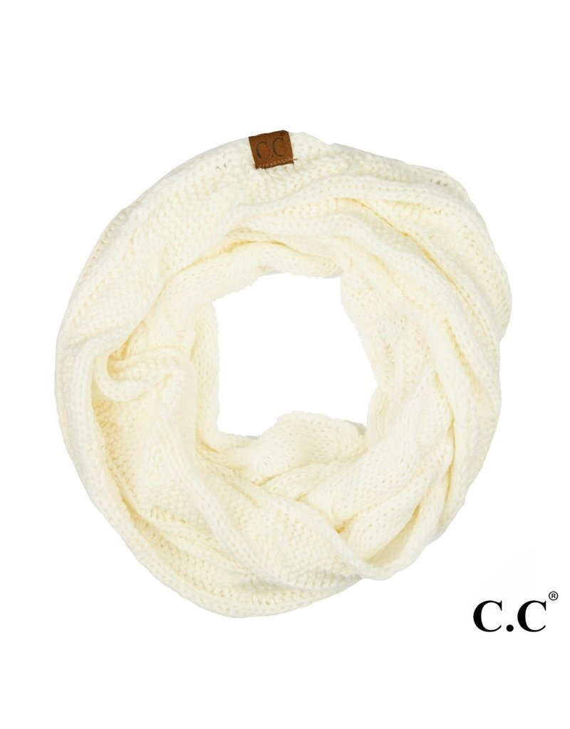 C.C. CC Ivory Cable Knit Infinity Scarf