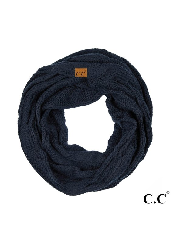C.C. CC Navy Cable Knit Infinity Scarf