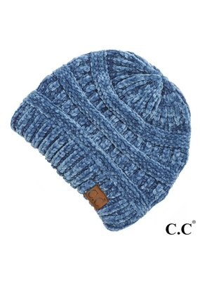 C.C. CC Dark Denim Chenille Ribbed Beanie Hat