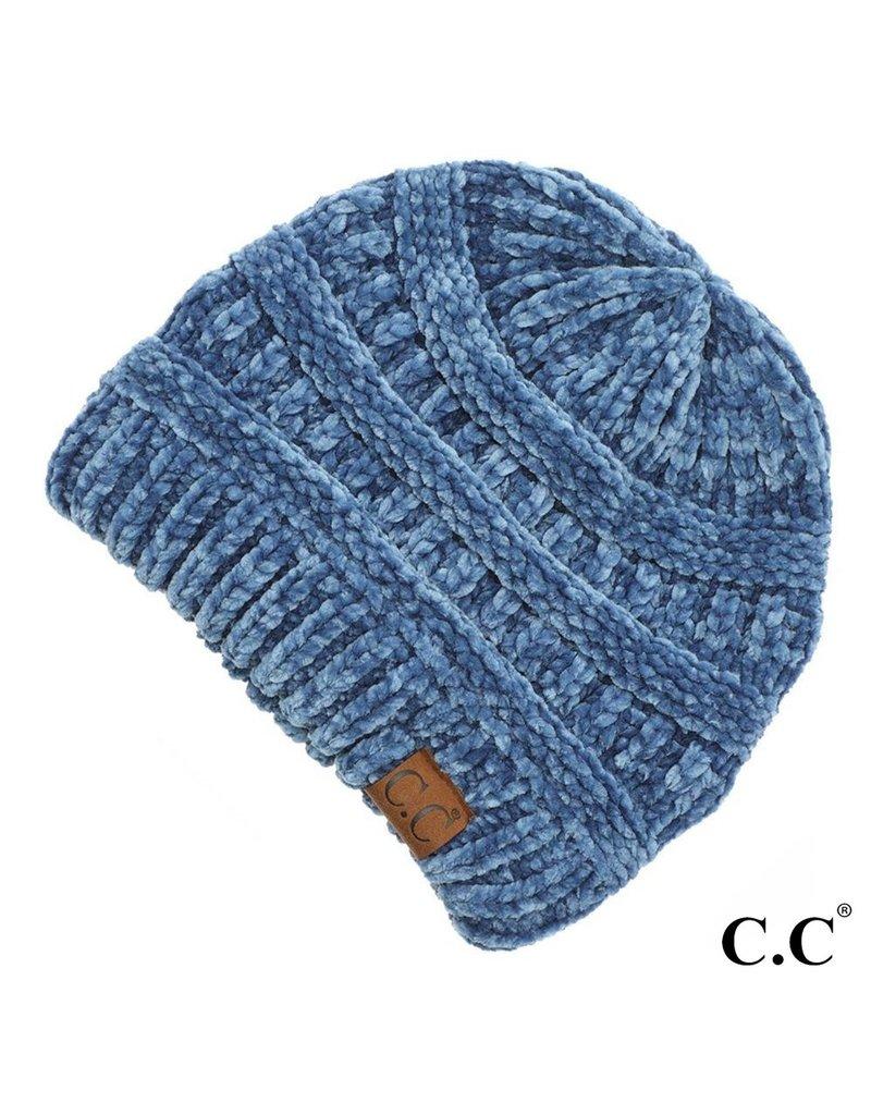 C.C. CC Dark Denim Chenille Ribbed Beanie Hat