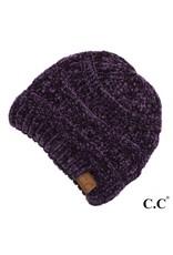 C.C. CC Drk. Purple Chenille Ribbed Beanie Hat