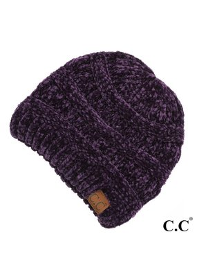 C.C. CC Drk. Purple Chenille Ribbed Beanie Hat