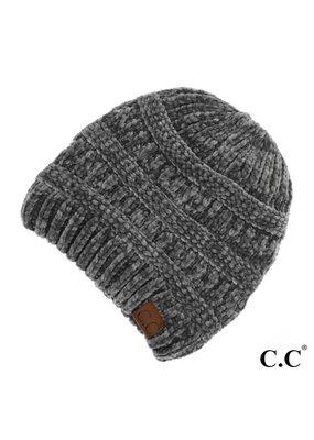 C.C. CC Lt. Melange Grey Chenille Ribbed Beanie Hat