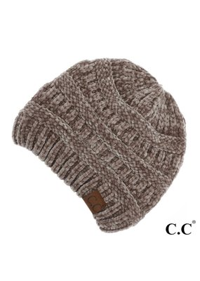 C.C. CC Taupe Chenille Ribbed Beanie Hat