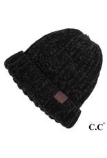 C.C. CC Black Chunky Ribbed Chenille Hat