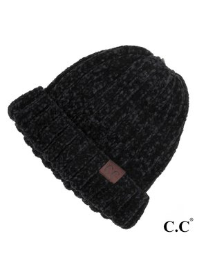 C.C. CC Black Chunky Ribbed Chenille Hat