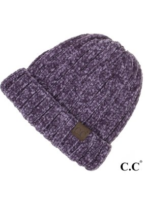 C.C. CC Violet Chunky Ribbed Chenille Hat