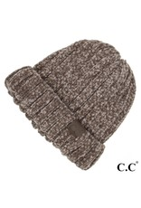 C.C. CC Taupe Chunky Ribbed Chenille Hat
