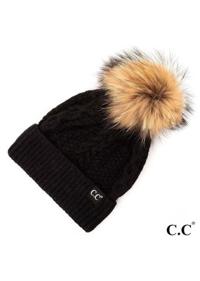 C.C. CC Black Cable Knit Hat With Fur Pom
