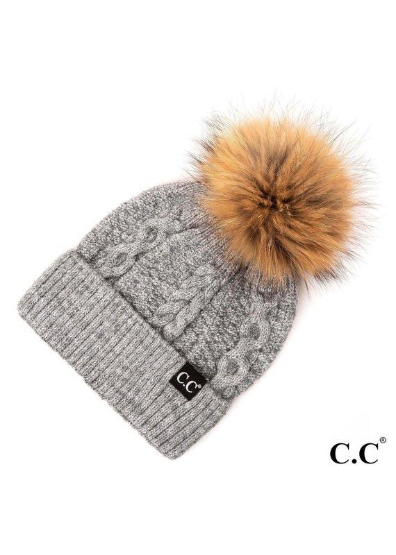 C.C. CC Lt Melange Gray Cable Knit Hat With Fur Pom