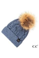 C.C. CC Denim Cable Knit Hat With Fur Pom