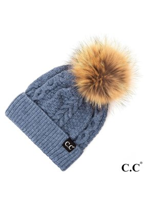 C.C. CC Denim Cable Knit Hat With Fur Pom