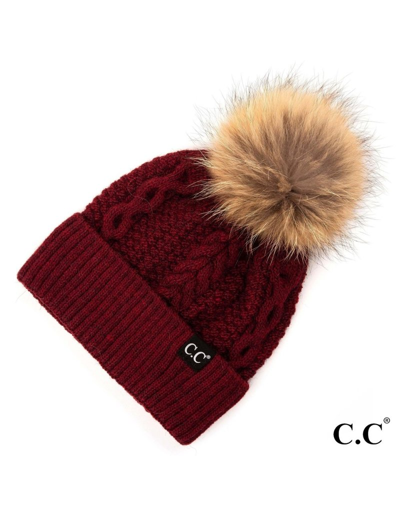 C.C. CC Burgundy Cable Knit Hat With Fur Pom