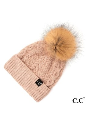 C.C. CC Rose Cable Knit Hat With Fur Pom