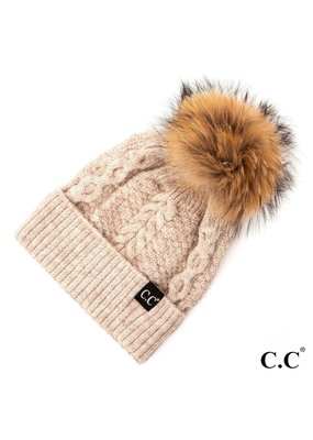 C.C. CC  Beige Cable Knit Hat With Fur Pom