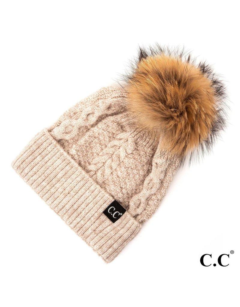 C.C. CC  Beige Cable Knit Hat With Fur Pom
