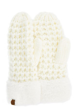 C.C. CC Ivory Chunky Sherpa Lined Mittens