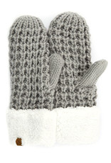 C.C. CC Natural Grey Chunky Sherpa Lined Mittens