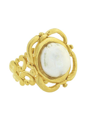 Susan Shaw Gold Coin Pearl Adjustable Ring