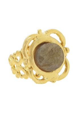 Susan Shaw Gold Scallop Labradorite Adjustable Ring
