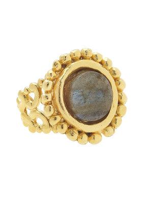 Susan Shaw Gold Labradorite Adjustable Ring