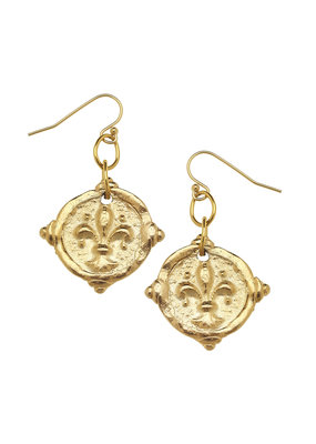 Susan Shaw Gold Fleur-De-Lis Intaglio Earrings