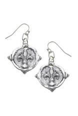 Susan Shaw Silver Fleur-De-Lis Intaglio Earrings