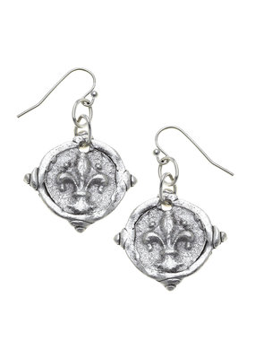 Susan Shaw Silver Fleur-De-Lis Intaglio Earrings