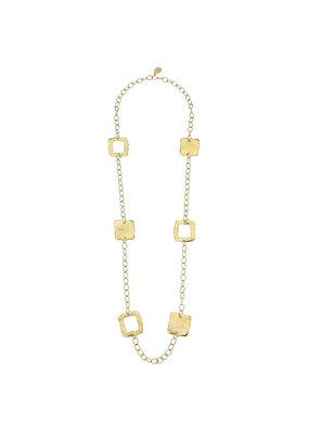 Susan Shaw Long Gold Square Necklace