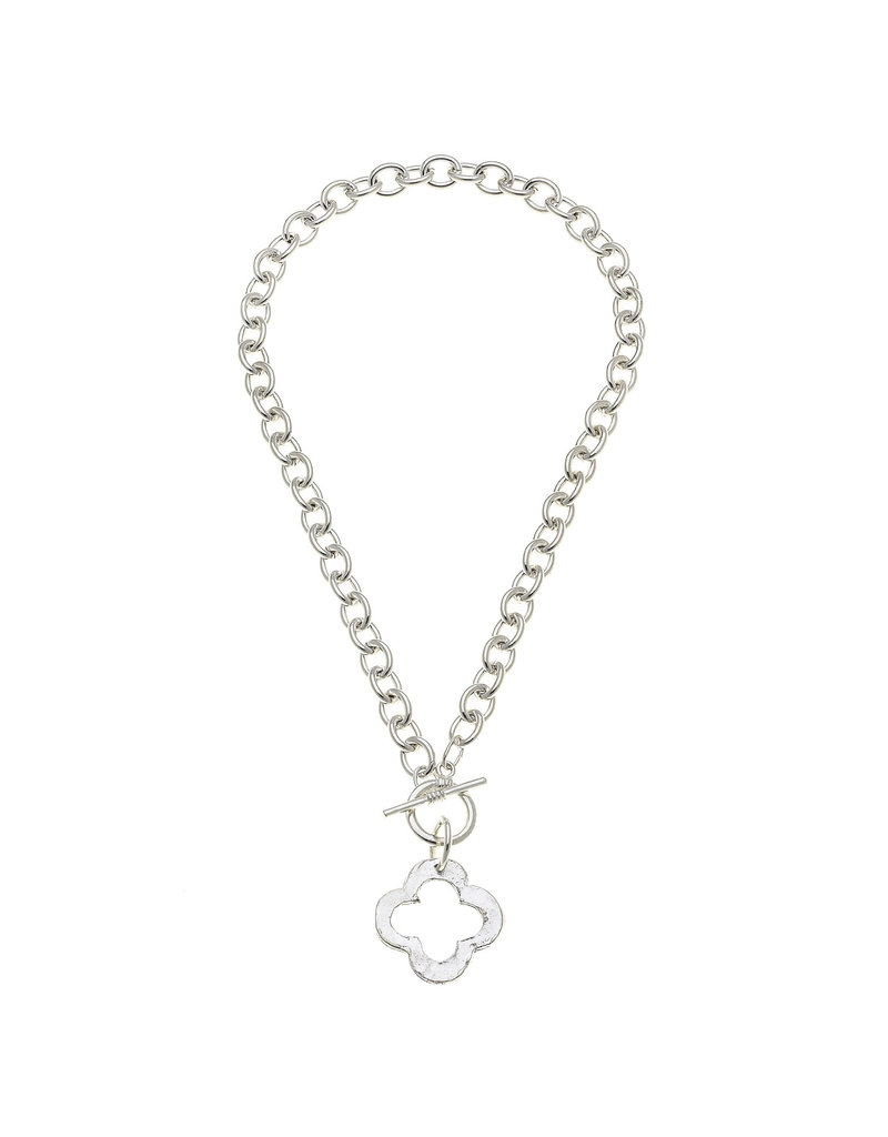 Susan Shaw Silver Clover Front Toggle Necklace
