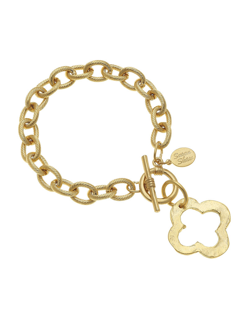 Susan Shaw Gold Clover Toggle Bracelet