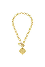 Susan Shaw Gold Compass Front Toggle Necklace