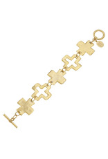 Susan Shaw Gold Linked Cross Toggle Bracelet