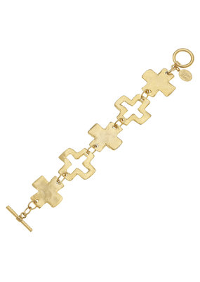 Susan Shaw Gold Linked Cross Toggle Bracelet