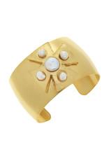 Susan Shaw Gold Maltese Cross Freshwater Pearl Cuff Bracelet