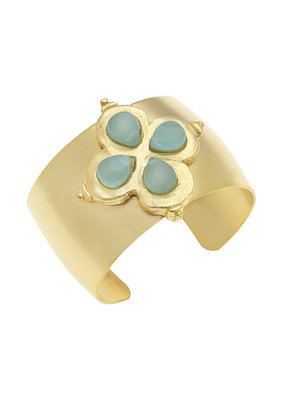 Susan Shaw Gold Clover Aqua Quartz Cuff Bracelet