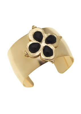 Susan Shaw Gold Clover Black Onyx Stone Cuff Bracelet