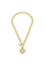 Susan Shaw Gold Intaglio Coin Front Toggle Necklace