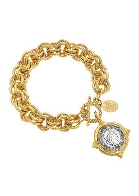 Susan Shaw Gold Italian Intaglio Coin Bracelet